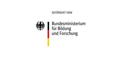 Logo BMBF Bundesministerium für Bildung und Forschung mit Zusatz Gefördert vom